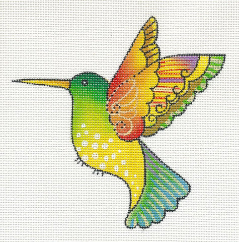 Laurel Burch Yellow Hummingbird Handpainted Needlepoint Canvas by Danji Designs