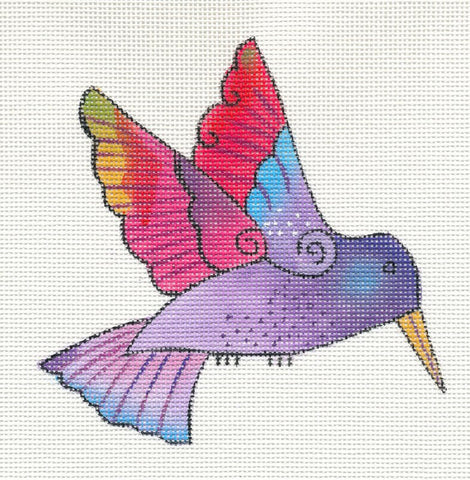 Laurel Burch Purple Hummingbird Handpainted Needlepoint Canvas by Danji Designs