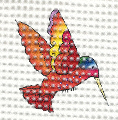 Laurel Burch Red Hummingbird Handpainted Needlepoint Canvas by Danji Designs