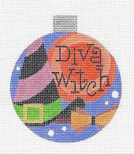 Round~Halloween Diva Witch Ornament handpainted Needlepoint Canvas by Raymond Crawford
