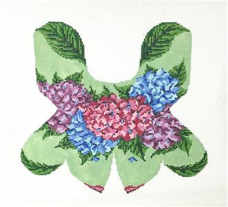Door Stop~ Hydrangea Frog 3-D Beanbag  handpainted Needlepoint Canvas~by Needle Crossings