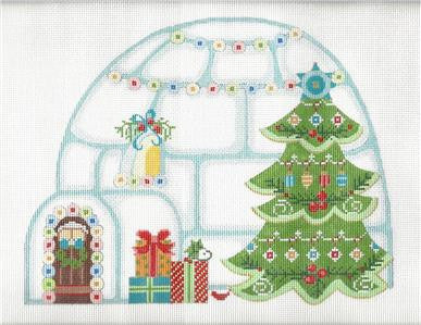 Canvas-Christmas Igloo on Handpainted Needlepoint Canvas & Stitch Guide ~ by Danji Designs