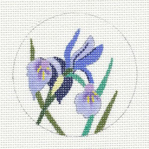 "Round~Violet Dwarf Iris 3""Round handpainted Needlepoint Canvas Ornament by JulieMar"