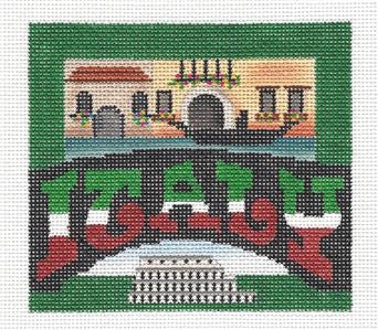 Travel Post Card ITALY handpainted Needlepoint Canvas Ornament Ewe&Eye
