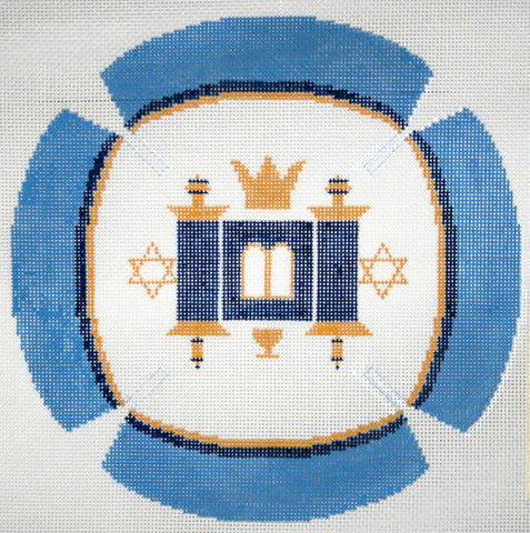 Yarmulke Rebecca Shore with Traditional Torah on Blue and White Design ***Exclusive***