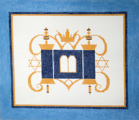 Canvas~Rebecca Shore Tallis Bag with Traditional Blue White and Gold Torah Design ***Exclusive***