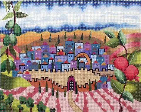 Canvas~Rebecca Shore Tallis Bag with Olives Pomegranates and City Backdrop ***Exclusive***