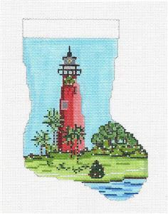 Stocking~Jupiter, FL. Lighthouse Mini handpainted Needlepoint Canvas~by Needle Crossings