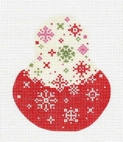 Kelly Clark Pear – Red Velvet Snowflake Pear handpainted Needlepoint Canvas
