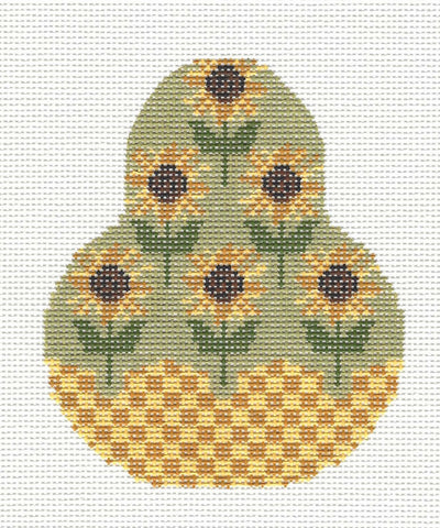 Kelly Clark Pear– Fall Sunflowers Pear Ornament handpainted Needlepoint Canvas **SP. ORDER**
