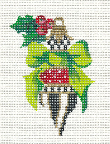 Kelly Clark Christmas – Green Bow Black & Gold handpainted Needlepoint Canvas Mini **SP. ORDER**