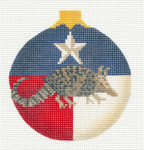Kelly Clark Christmas – Texas with Armadillo handpainted Needlepoint Canvas Ornament **SP. ORDER**