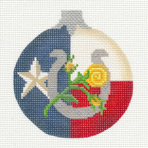 Kelly Clark Christmas – Texas Ornament handpainted Needlepoint Canvas **SP. ORDER**