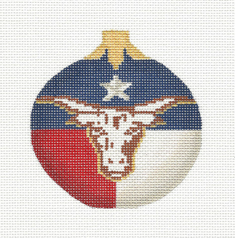 Kelly Clark Christmas – Texas Longhorn Ornament handpainted Needlepoint Canvas **SP. ORDER**