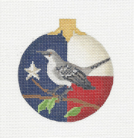 Kelly Clark Christmas – Texas State Mockingbird handpainted Needlepoint Canvas Ornament **SP. ORDER**