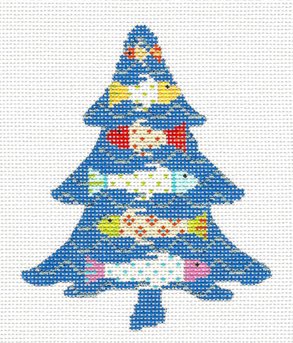 Kelly Clark Tree- Six Funky Little Fish & STITCH GUIDE handpainted Needlepoint Canvas by Kelly Clark