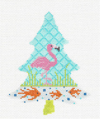 Kelly Clark Tree – Flamingo Tree Ornament KIT: Canvas, SG & Fibers handpainted Needlepoint Canvas