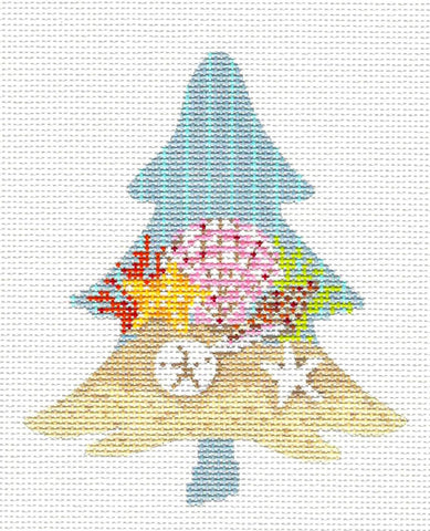 Kelly Clark Tree – Shells at the Beach Tree handpainted Needlepoint Canvas Ornament