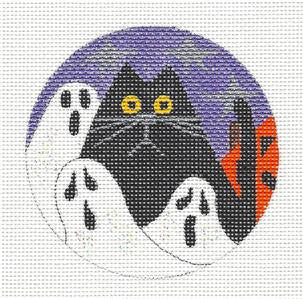 Round~Halloween Ghost Kitty Cat Ornament~by Mile High Princess