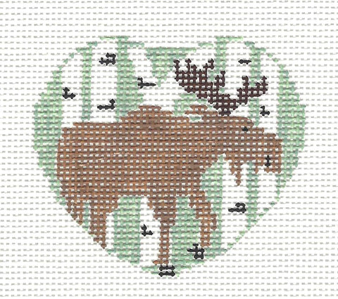 Lapel Pin~Moose ( Green Background) handpainted Needlepoint Canvas~by Kathy Schenkel