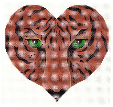Canvas~Tiger Heart handpainted Needlepoint Canvas~by JP Needlepoint