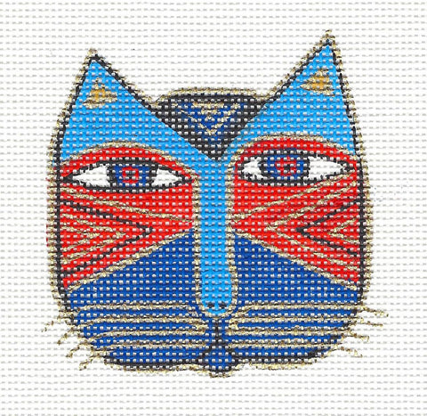 Laurel Burch Small Cat Face #2 Handpainted Needlepoint Canvas by Danji Designs