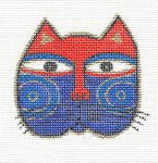 Laurel Burch Small Cat Face #4 Handpainted Needlepoint Canvas by Danji Designs
