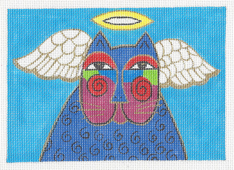 Laurel Burch Angel Cat Handpainted Needlepoint Canvas by Danji Designs