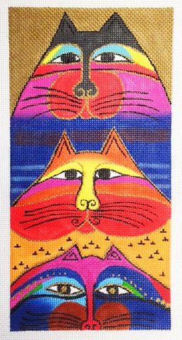 Laurel Burch Fat Cats large Handpainted Needlepoint Canvas by Danji Designs