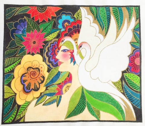 Laurel Burch Swan Goddess large Handpainted Needlepoint Canvas by Danji Designs