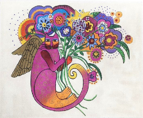 Laurel Burch Floral Cat Angel large Handpainted Needlepoint Canvas by Danji Designs