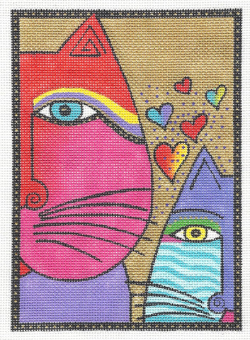 Laurel Burch Selfie Cats Handpainted Needlepoint Canvas by Danji Designs
