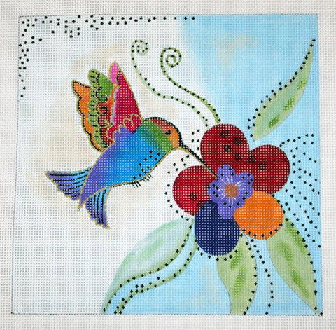 Laurel Burch Hummingbird Handpainted Needlepoint Canvas by Danji Designs ~ 18M