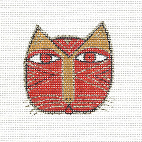 Laurel Burch Small Cat Face #3 Handpainted Needlepoint Canvas by Danji Designs