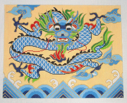 Canvas~Oriental Imperial Dragon in Blue handpainted Needlepoint Canvas ~ 18 mesh by LEE