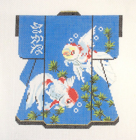 Kimono~ *RETIRED* LEE Oriental Koi Fish Medium Kimono handpainted Needlepoint Canvas