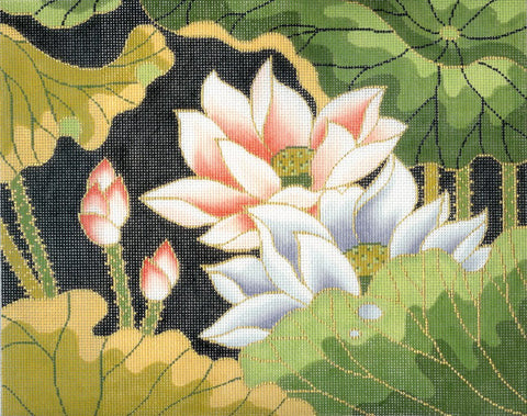 Canvas Floral~LEE Japanese Lotus Blossom Garden handpainted Needlepoint Canvas