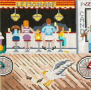 Canvas~Boardwalk Lemonade Stand handpainted Needlepoint Canvas~by Needle Crossings