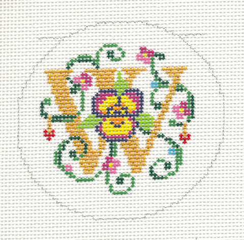 "Alphabet~Letter ""W"" Floral Design handpainted Needlepoint Canvas 3"" Rd. 18m by Lee"