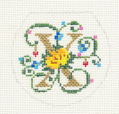 "Alphabet~Letter ""X"" Floral Design handpainted Needlepoint Canvas 3"" Rd. 18m by Lee"