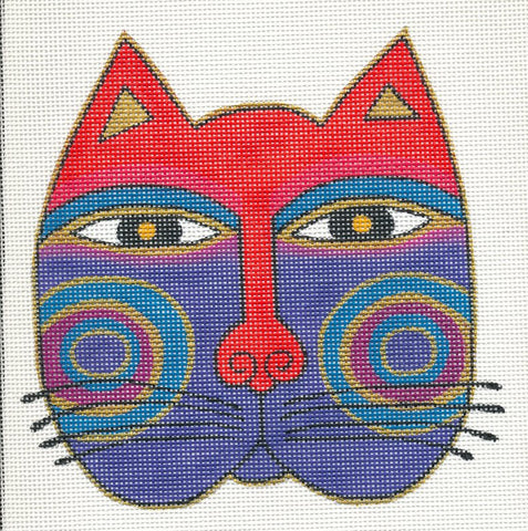 Laurel Burch Large Cat Face Handpainted Needlepoint Canvas Danji Designs ~ 13m