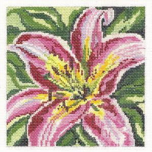 Canvas~ Stargazer Lily Flower handpainted Needlepoint Canvas~by Needle Crossings
