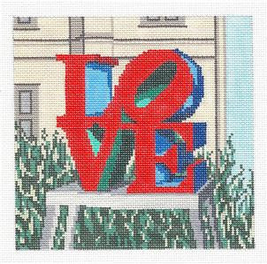 Canvas~ Philadelphia LOVE Statue handpainted Needlepoint Canvas~by Needle Crossings