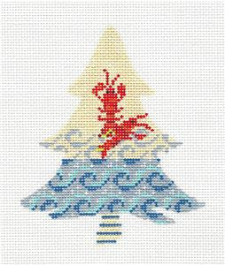 Kelly Clark Tree- Lobster Canvas & STITCH GUIDE handpainted Needlepoint Canvas