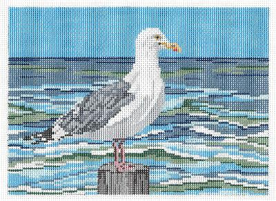 Canvas~Elegant Lone Seagull handpainted Needlepoint Canvas~by Needle Crossings