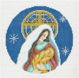 Round-Christmas Madonna & Child handpainted Needlepoint Canvas Ornament Alice Peterson