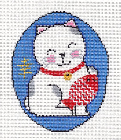 Canvas~Oriental Happy Smiling Lucky Cat with Fish~by MBM Designs
