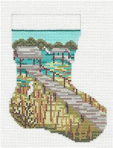 Stocking~Marsh & Egret 13 MESH handpainted Needlepoint Canvas~by Needle Crossings