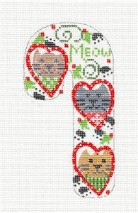 Medium Candy Cane Hearts Cats & Kitties MEOW Ornament on hand painted Needlepoint Canvas~ by Danji Designs ***SPECIAL ORDER***