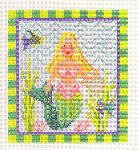 Kelly Clark Canvas – Mermaid With Blonde Hair handpainted Needlepoint Canvas **SP. ORDER**